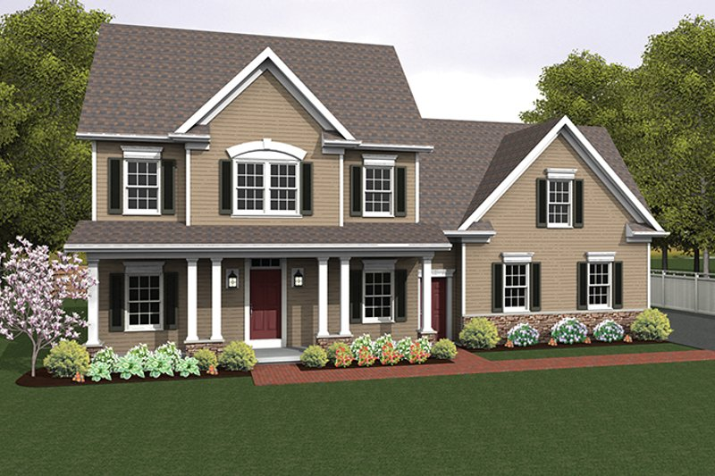 Colonial Exterior - Front Elevation Plan #1010-122