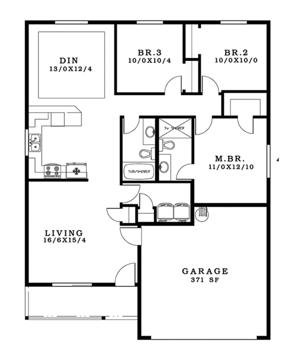 Craftsman Floor Plan - Main Floor Plan #943-47