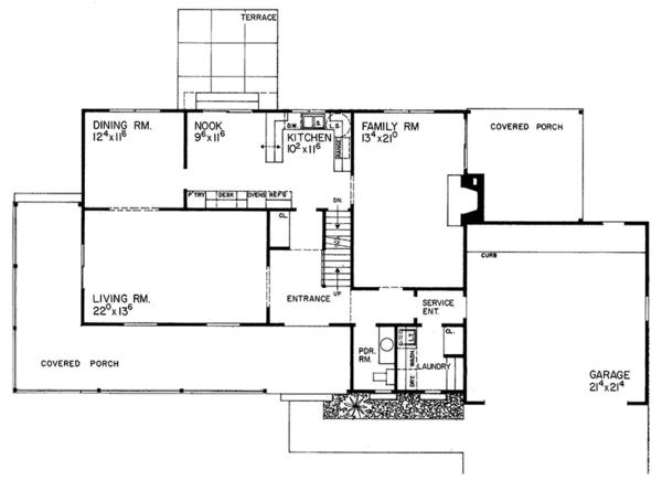 Country Floor Plan - Main Floor Plan Plan #72-719