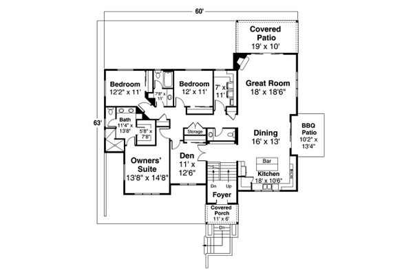 Prairie Floor Plan - Main Floor Plan Plan #124-1203