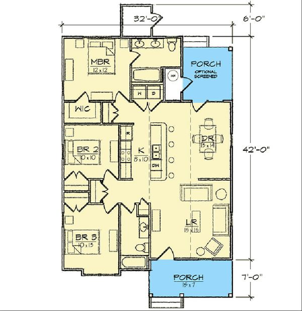 Bungalow Floor Plan - Main Floor Plan Plan #936-30