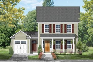 Colonial Exterior - Front Elevation Plan #1053-63