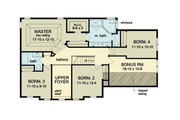 Colonial Style House Plan - 4 Beds 2.5 Baths 2593 Sq/Ft Plan #1010-37 Floor Plan - Upper Floor Plan