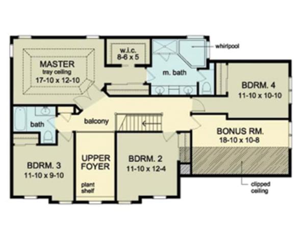 Architectural House Design - Colonial Floor Plan - Upper Floor Plan #1010-37