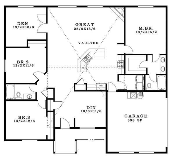 Craftsman Floor Plan - Main Floor Plan Plan #943-45