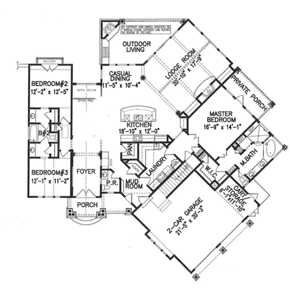 Craftsman Floor Plan - Main Floor Plan Plan #54-368