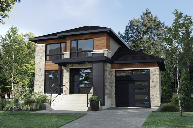 Contemporary Style House Plan - 2 Beds 2.5 Baths 1828 Sq/Ft Plan #25-4875 Exterior - Front Elevation