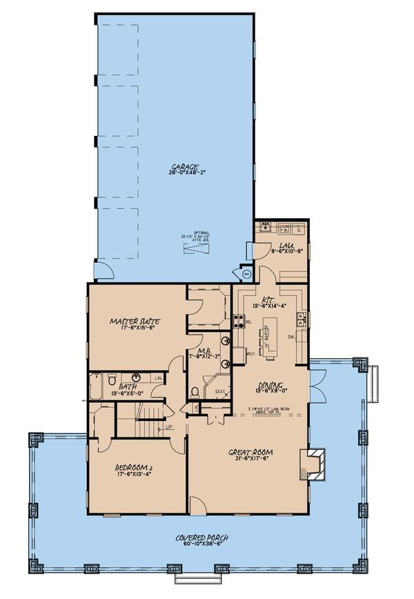 Architectural House Design - Farmhouse Floor Plan - Main Floor Plan #923-174