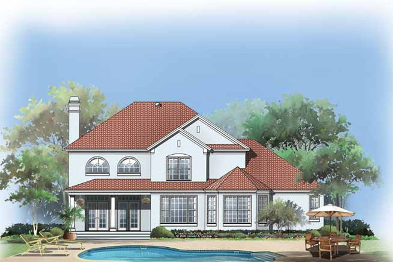 Mediterranean Exterior - Rear Elevation Plan #929-593 - Houseplans.com