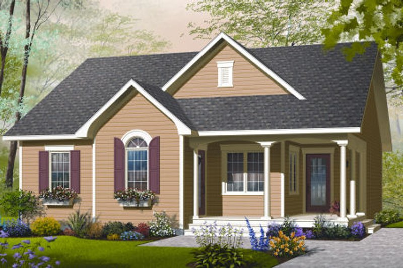 Country Style House Plan - 2 Beds 1 Baths 1226 Sq/Ft Plan #23-2203 Exterior - Front Elevation