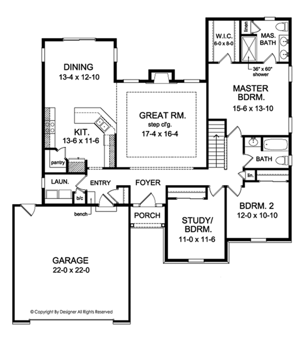 Ranch Floor Plan - Main Floor Plan Plan #1010-138