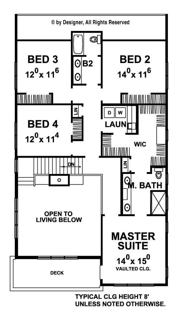 Contemporary Floor Plan - Upper Floor Plan #20-2205