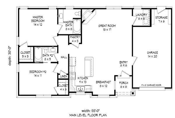 Craftsman Floor Plan - Main Floor Plan Plan #932-26