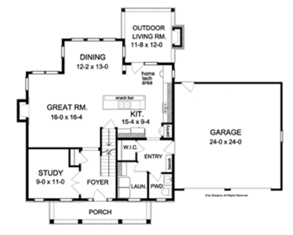 Colonial Floor Plan - Main Floor Plan Plan #1010-50