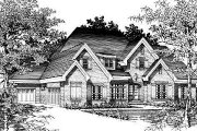 European Style House Plan - 5 Beds 3 Baths 3010 Sq/Ft Plan #329-279 Exterior - Front Elevation