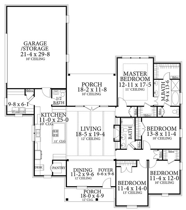 Cottage Style House Plan - 4 Beds 2.5 Baths 2298 Sq/Ft Plan #406-9654 Floor Plan - Main Floor Plan