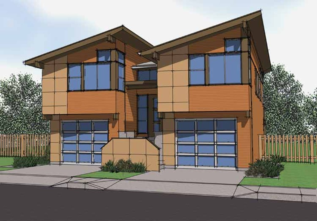 Contemporary Exterior Front Elevation Plan 569 16