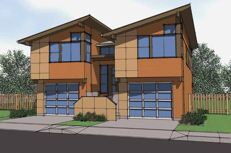 Architectural House Design - Contemporary Exterior - Front Elevation Plan #569-16