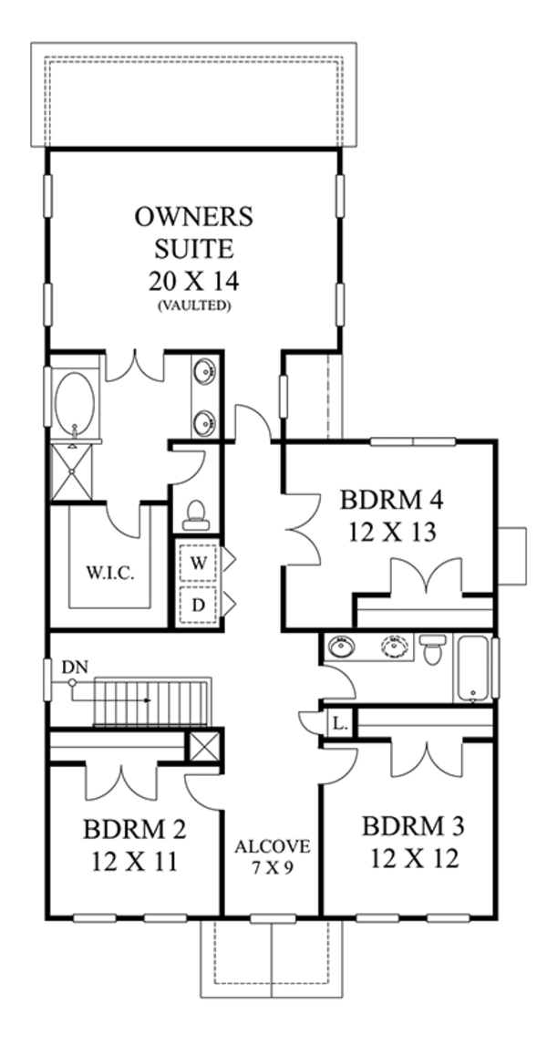 Architectural House Design - Colonial Floor Plan - Upper Floor Plan #1053-73