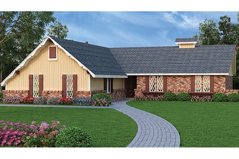 Architectural House Design - European Exterior - Front Elevation Plan #45-566