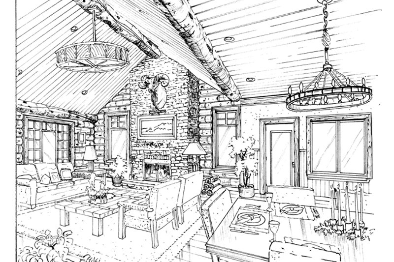 Log Interior - Family Room Plan #942-18 - Houseplans.com