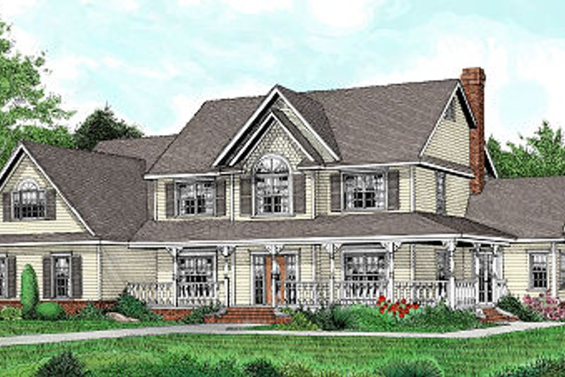 Country Style House Plan - 5 Beds 2.5 Baths 3464 Sq/Ft Plan #11-233 Exterior - Front Elevation