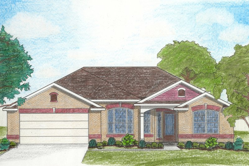 Traditional Style House Plan - 3 Beds 2 Baths 1572 Sq/Ft Plan #80-201 Exterior - Front Elevation