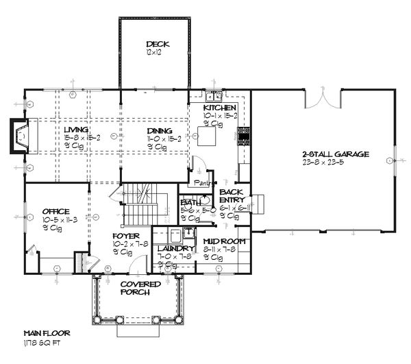 Colonial Floor Plan - Main Floor Plan Plan #901-22