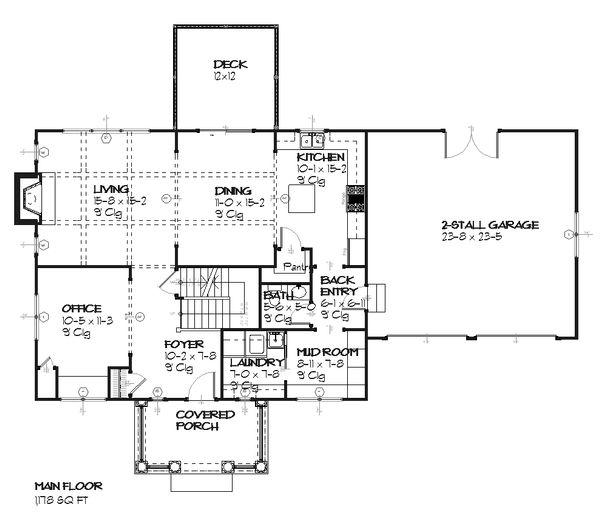 Colonial Floor Plan - Main Floor Plan Plan #901-22