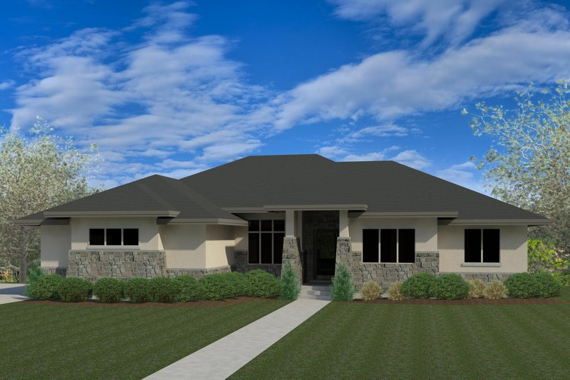 Contemporary Style House Plan - 6 Beds 3.5 Baths 4583 Sq/Ft Plan #920-93 Exterior - Front Elevation