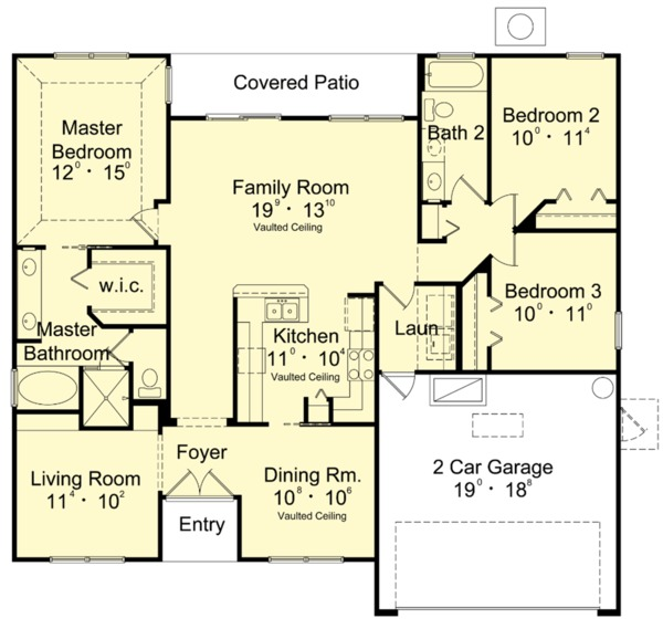 Mediterranean Floor Plan - Main Floor Plan Plan #417-840