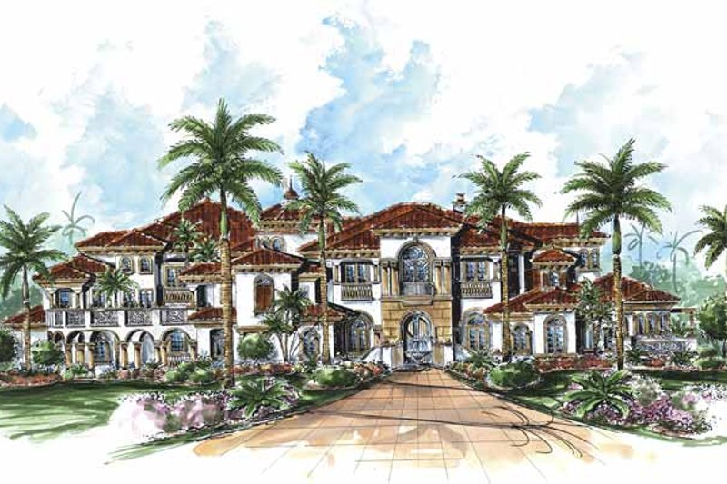 Architectural House Design - Mediterranean Exterior - Front Elevation Plan #1017-77