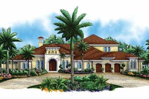 Dream House Plan - Mediterranean Exterior - Front Elevation Plan #1017-105