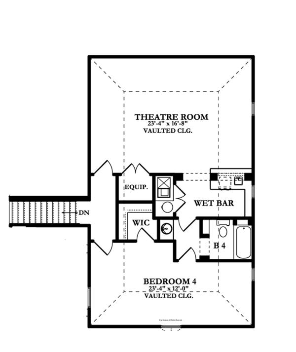 European Floor Plan - Upper Floor Plan Plan #1058-24
