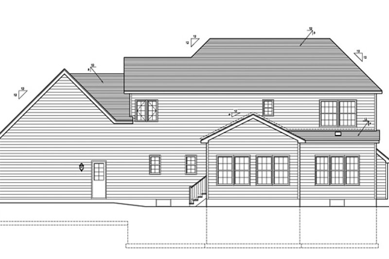 Colonial Exterior - Rear Elevation Plan #1010-90 - Houseplans.com