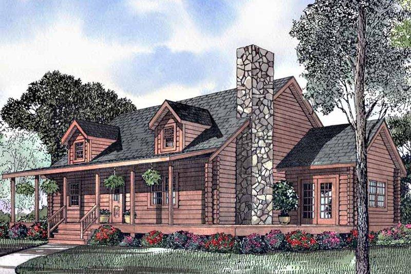 Log Exterior - Front Elevation Plan #17-2990 - Houseplans.com