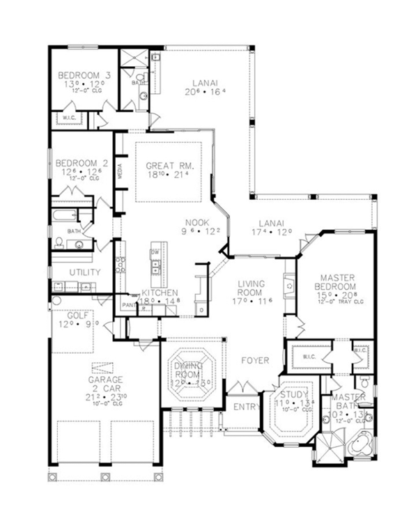 Mediterranean Floor Plan - Main Floor Plan Plan #417-811