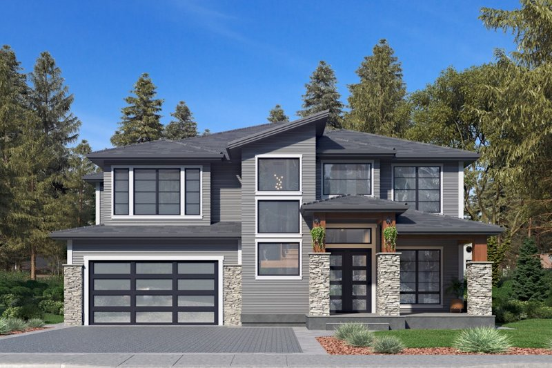 Contemporary Style House Plan - 5 Beds 5 Baths 4310 Sq/Ft Plan #1066-69 Exterior - Front Elevation