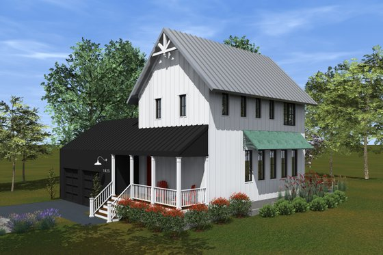 Farmhouse Exterior - Covered Porch Plan #933-8