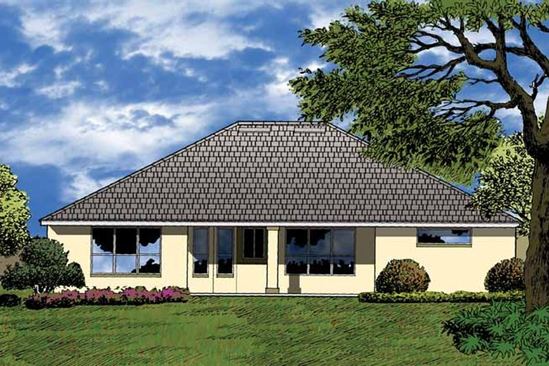Mediterranean Exterior - Rear Elevation Plan #1015-13 - Houseplans.com