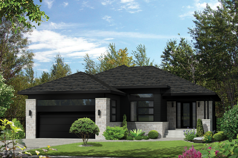 Contemporary Style House Plan - 3 Beds 2 Baths 1588 Sq/Ft Plan #25-4324 Exterior - Front Elevation
