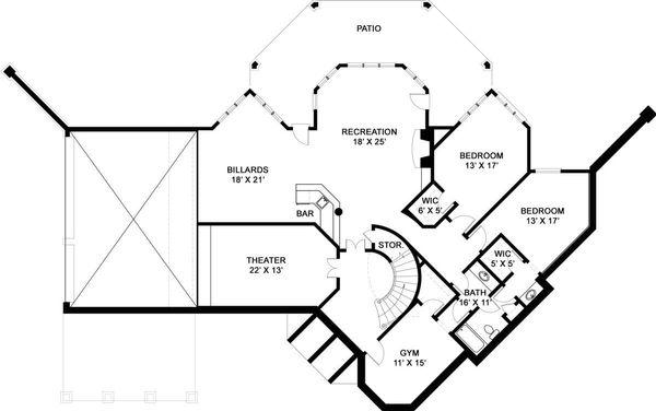 European Floor Plan - Lower Floor Plan Plan #119-152