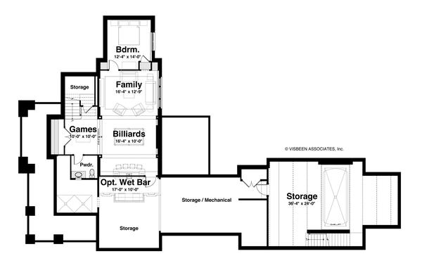 House Plan Design - Craftsman Floor Plan - Lower Floor Plan #928-185