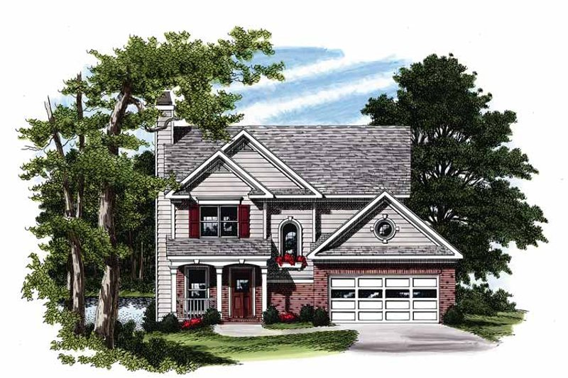 Country Exterior - Front Elevation Plan #927-90