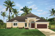 Mediterranean Style House Plan - 3 Beds 3 Baths 2366 Sq/Ft Plan #1058-43 Exterior - Front Elevation