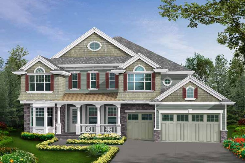 Country Exterior - Front Elevation Plan #132-484 - Houseplans.com