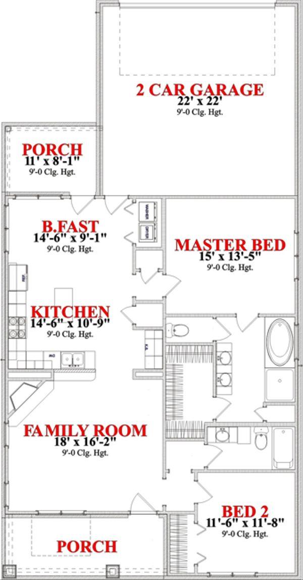 Bungalow Floor Plan - Main Floor Plan Plan #63-284