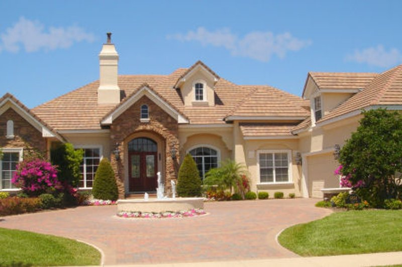 Mediterranean Style House Plan - 4 Beds 6.5 Baths 6358 Sq/Ft Plan #135-188 Exterior - Front Elevation