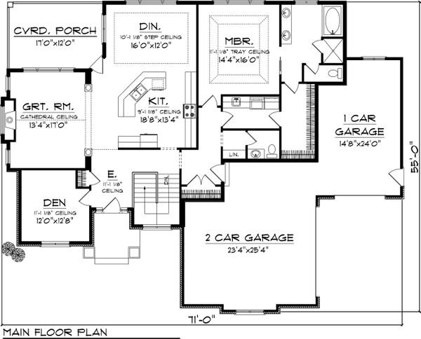 Traditional Floor Plan - Main Floor Plan Plan #70-1066