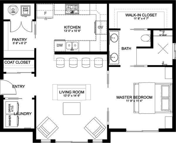 House Plan Design - Cottage Floor Plan - Main Floor Plan #126-222